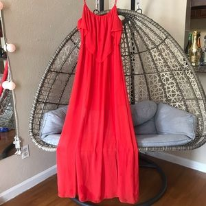 BCBGeneration💋 Red Lava Overlay Split Maxi Dress